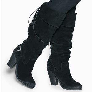 Shoemint Deanna Lace Up Back Knee High Heel Boots